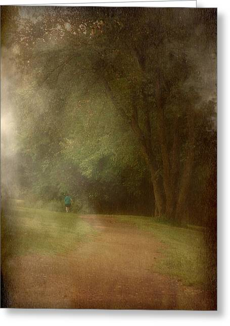 Walking Into A Dream - Holmdel Park Greeting Card by Angie Tirado