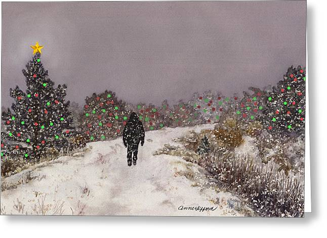 Greeting Card featuring the painting Walking Into The Light by Anne Gifford