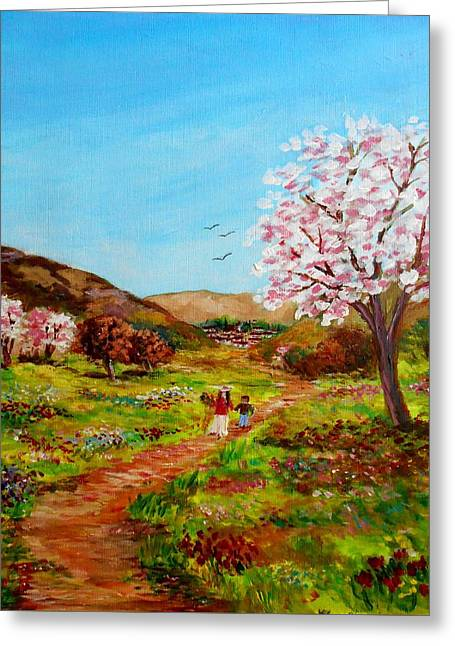 Walking Into The Springfields Greeting Card by Constantinos Charalampopoulos