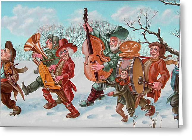 Walking Musicians Greeting Card