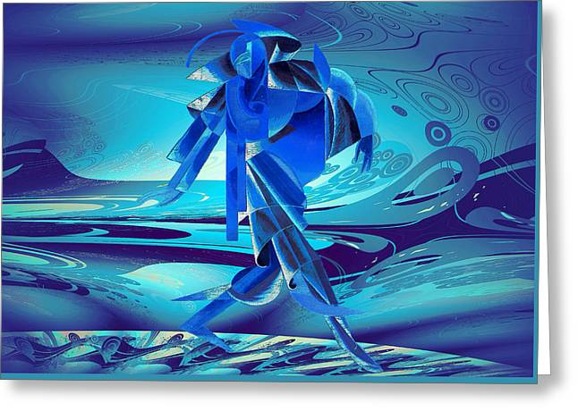 Greeting Card featuring the digital art Walking On A Stormy Beach by Robert G Kernodle