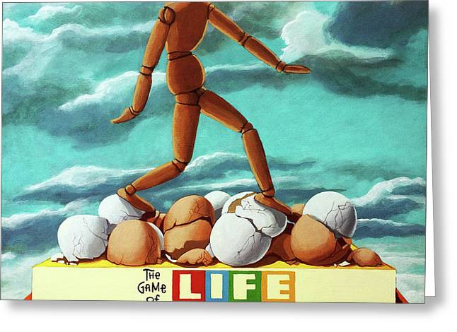 Walking On Eggshells Imaginative Realistic Painting Greeting Card by Linda Apple