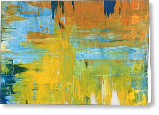 Walking On Sunshine - 48x48 Huge Original Painting Art Abstract Artist Greeting Card by Robert R Splashy Art Abstract Paintings