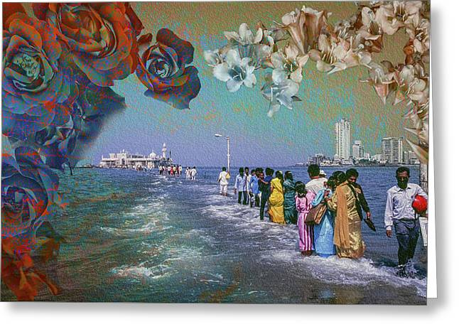 Walking On Water To The Mosque Of Haji Ali In Dragah, Maharastra Greeting Card by Hans Schrodter