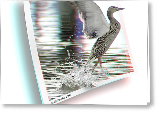 Walking On Water - Use Red-cyan 3d Glasses Greeting Card by Brian Wallace