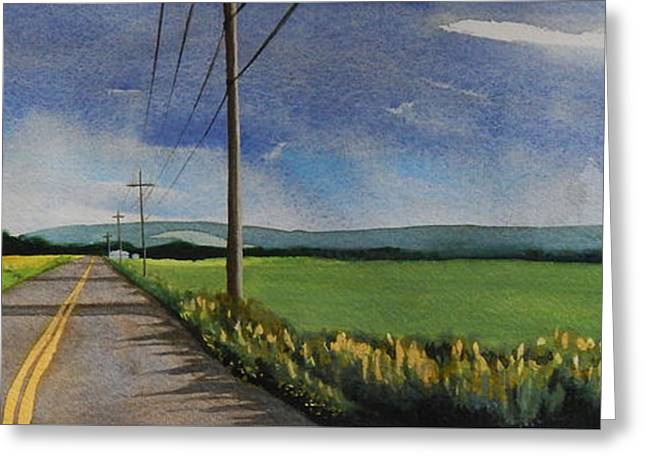 Greeting Card featuring the painting Walking South On Eckhard Road by Robert Coppen