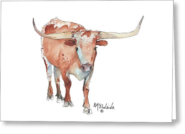 Walking Tall Texas Longhorn Watercolor And Ink By Kmcelwaine Greeting Card