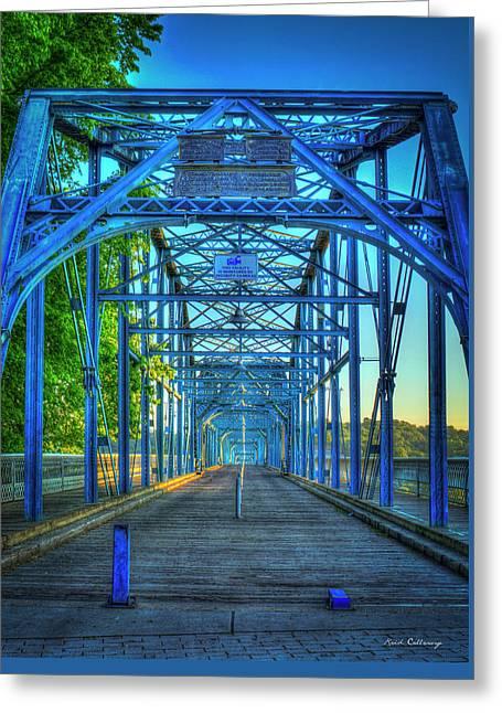 Walking Tall Walnut Street Pedestrian Bridge Art Chattanooga Tennessee Greeting Card
