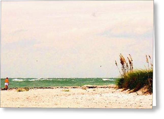 Walking The Beach Greeting Card by Ian  MacDonald