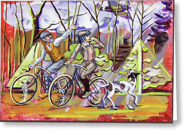 Walking The Dog 1 Greeting Card by Mark Howard Jones
