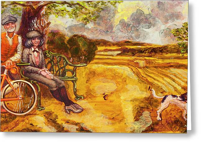 Walking The Dog After Gainsborough Greeting Card