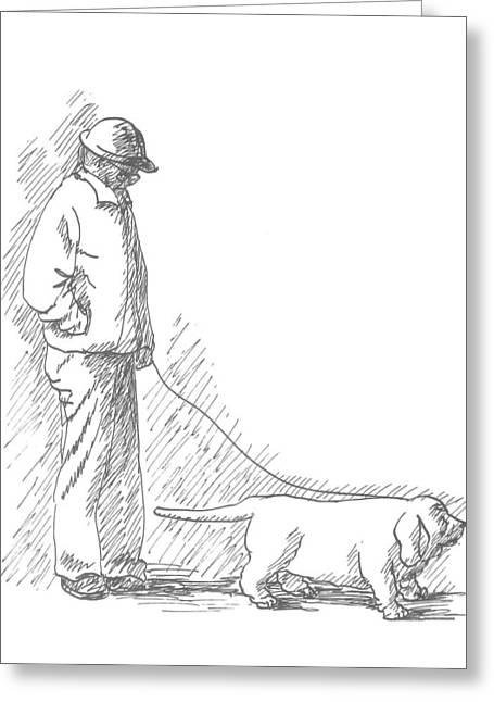 Walking The Dog Greeting Card by Deborah Dendler