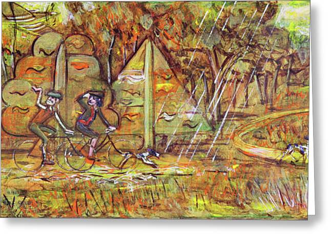 Walking The Dog 4 Greeting Card by Mark Howard Jones