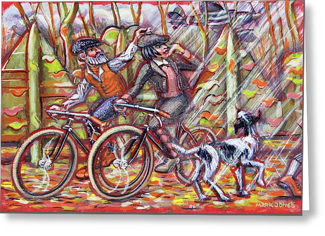 Walking The Dog 2 Greeting Card by Mark Howard Jones
