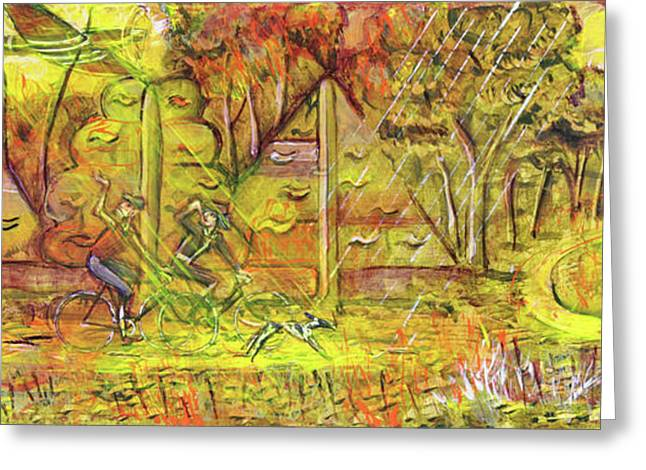 Walking The Dog 5 Greeting Card by Mark Howard Jones