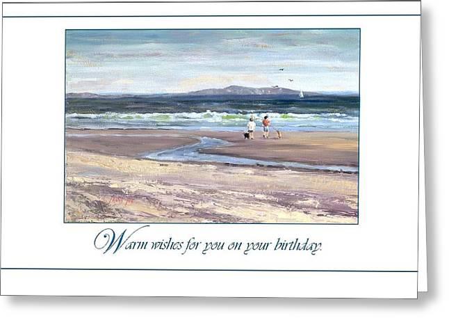Hull Ma Greeting Cards - Walking the Dogs Nantasket Greeting Card by Laura Lee Zanghetti