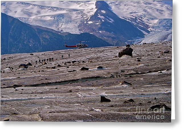 Walking The Glacier Greeting Card by E Robert Dee