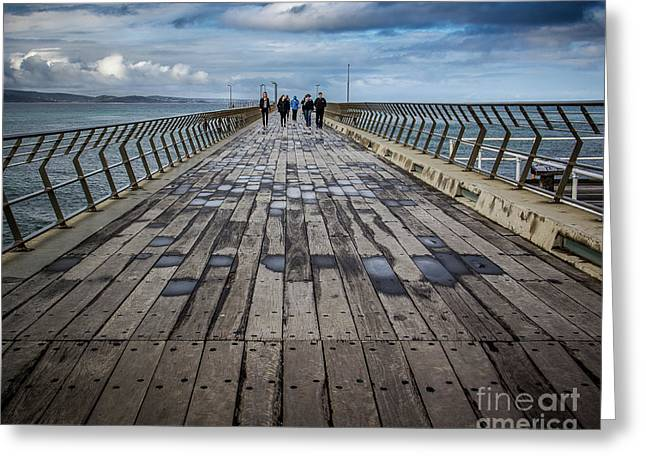 Greeting Card featuring the photograph Walking The Pier by Perry Webster