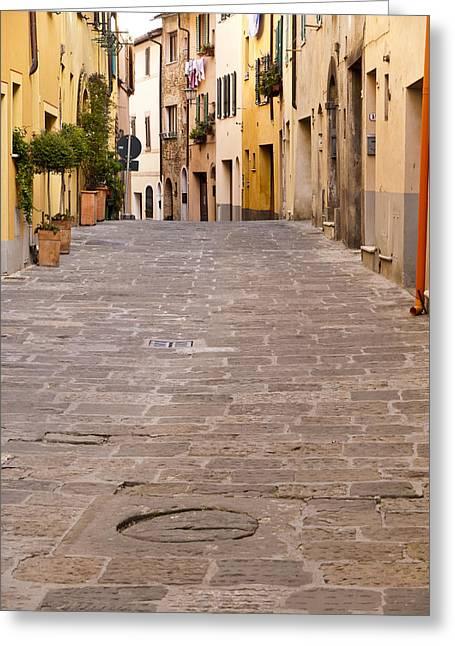 Walking Through Montepulciano Greeting Card by Rae Tucker