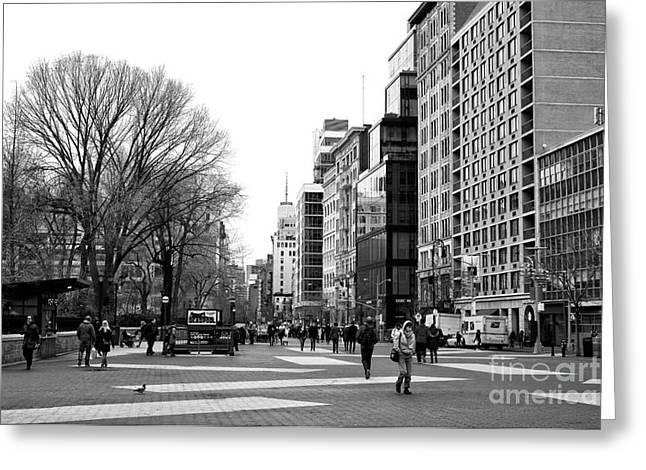 Walking Through Union Square Greeting Card by John Rizzuto