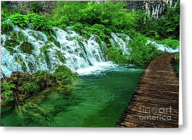 Walking Through Waterfalls - Plitvice Lakes National Park, Croatia Greeting Card