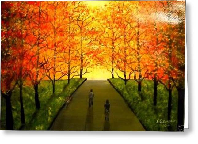 Greeting Card featuring the painting Walking To The Light by Edwin Alverio