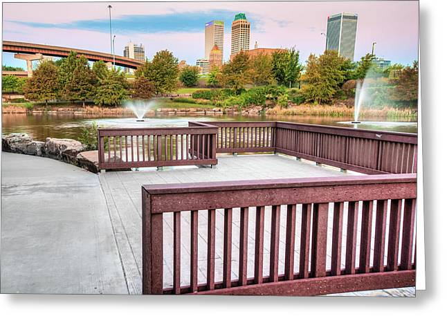 Walking To The Tulsa Downton Skyline Greeting Card by Gregory Ballos