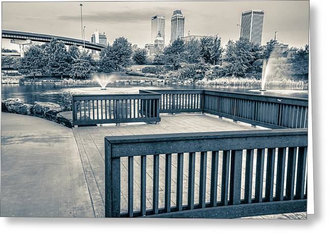 Walking To The Tulsa Downton Skyline In Black And White Greeting Card by Gregory Ballos