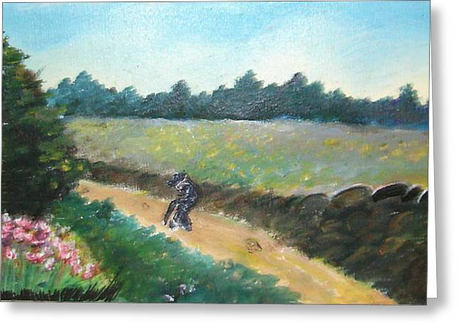 Walking To Town Greeting Card by Anne-Elizabeth Whiteway