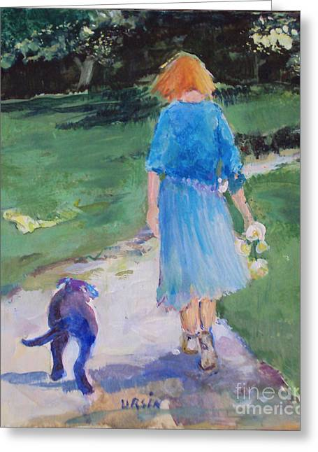 Walking With An Old Friend Greeting Card by Diane Ursin