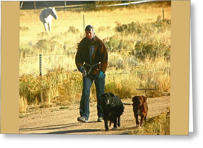 Walking The Dogs - Wyoming Greeting Card