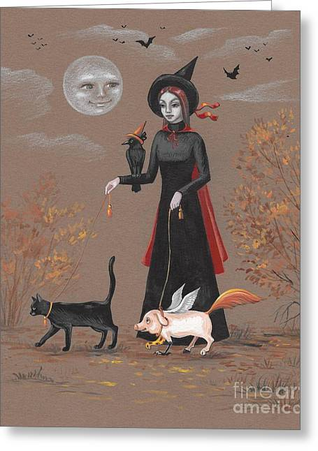 Walking With The Pets  Greeting Card by Margaryta Yermolayeva