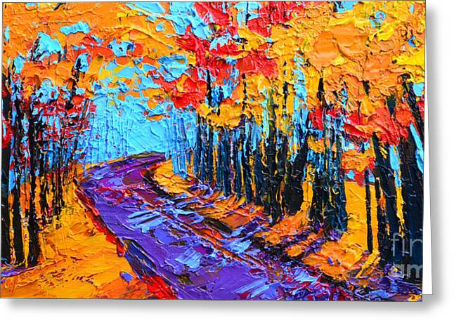 Greeting Card featuring the painting Walking Within - Enchanted Forest Collection - Modern Impressionist Landscape Art - Palette Knife by Patricia Awapara
