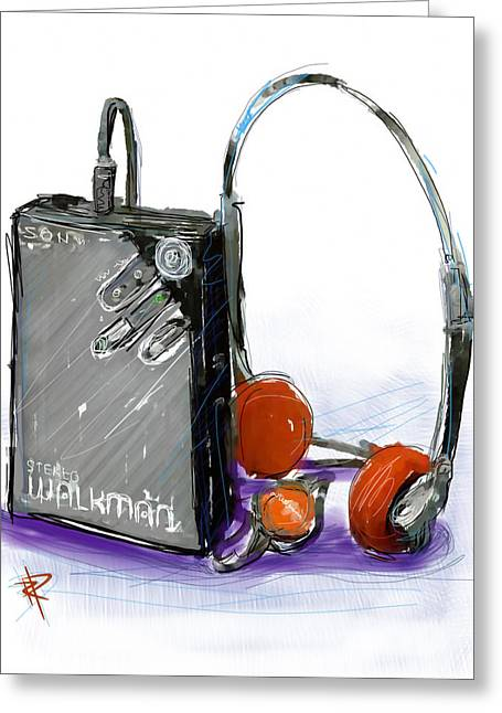 Walkman Greeting Card by Russell Pierce
