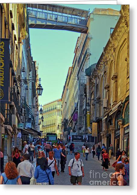 Greeting Card featuring the photograph Walkway Over The Street - Lisbon by Mary Machare