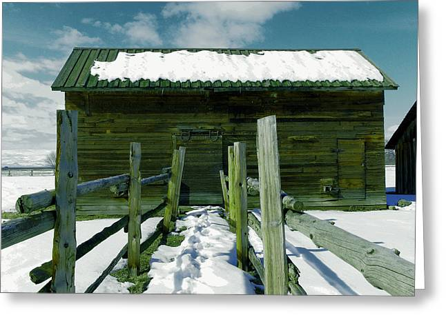 Greeting Card featuring the photograph Walkway To An Old Barn by Jeff Swan