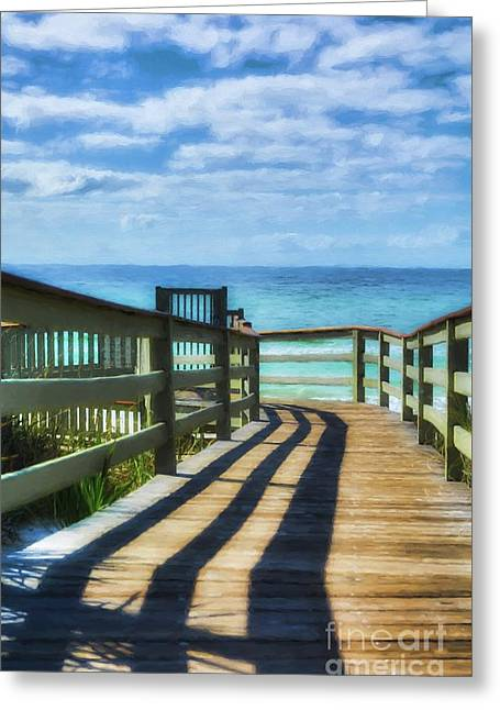 Walkway To Rosemary Beach Greeting Card by Mel Steinhauer