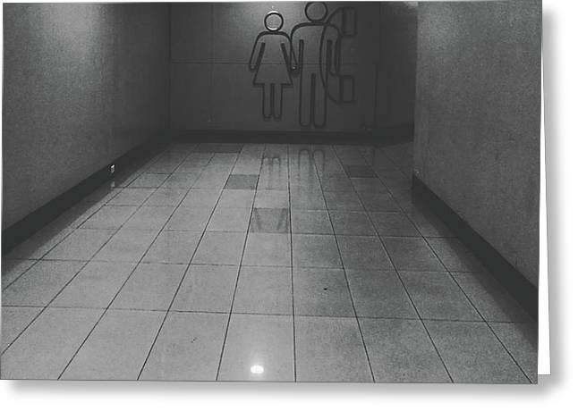 Walkway Towards Restroom Greeting Card by Sirikorn Techatraibhop
