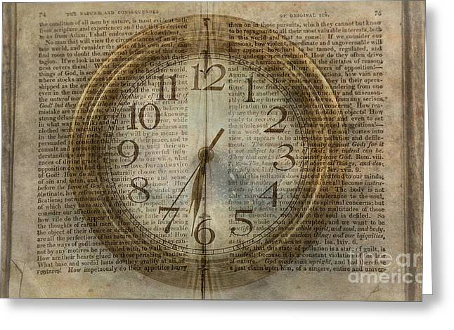 Greeting Card featuring the digital art Wall Clock And Book Double Exposure by Randy Steele