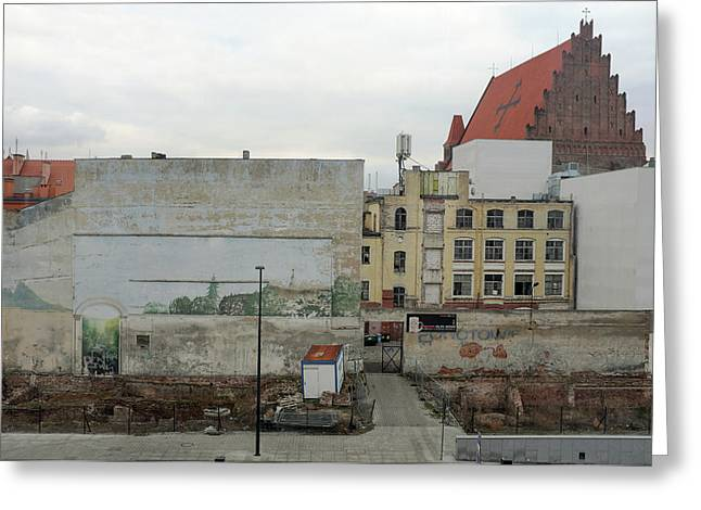 Greeting Card featuring the photograph street and walls in Wroclaw, Poland by Dubi Roman