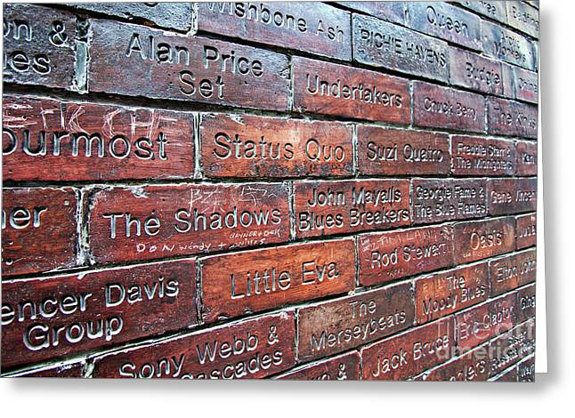 Wall Of Fame With The Name Of Bands That Have Played At The Cavern Club In Mathew St Liverpool Uk Greeting Card