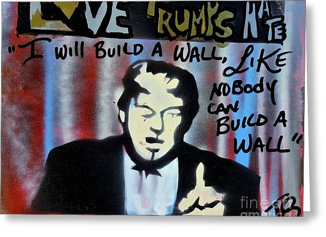 Wall Of Hate Greeting Card by Tony B Conscious