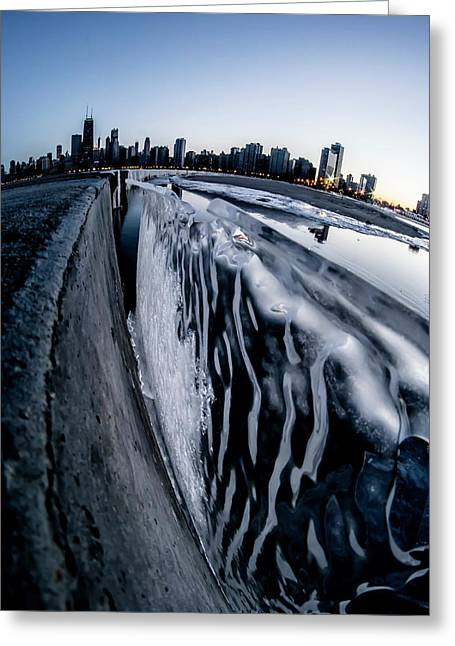 Wall Of Ice And Chicago Skyline At Dusk  Greeting Card