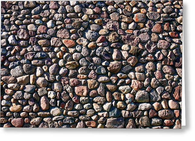 Wall Of Many Different Rocks And Stones Greeting Card