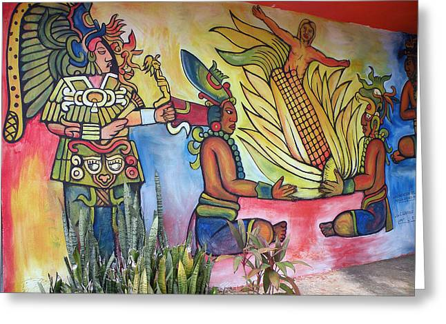 Greeting Card featuring the photograph Wall Painting In A Mexican Village by Dianne Levy