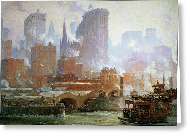Wall Street Ferry Ship Greeting Card by Colin Campbell Cooper