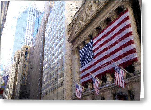 Wall Street, Nyc Greeting Card by Matthew Ashton