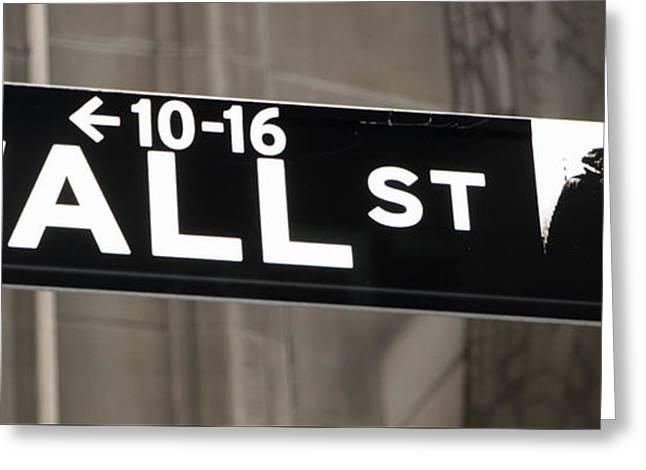 Wall Street Sign Close Up 2 Greeting Card