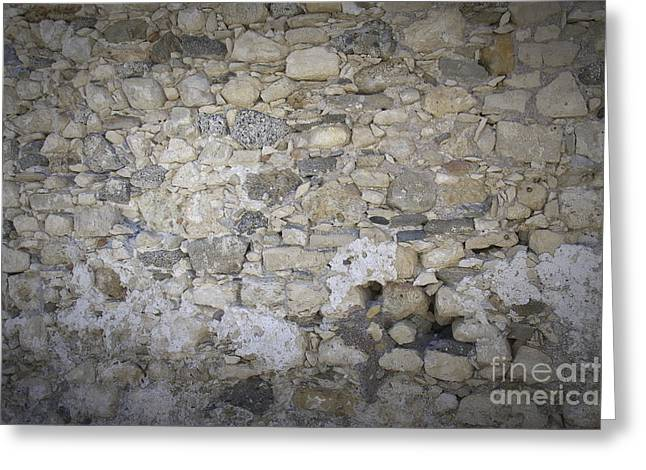 Wall Surface At Kales Fort In Lerapetra Greeting Card