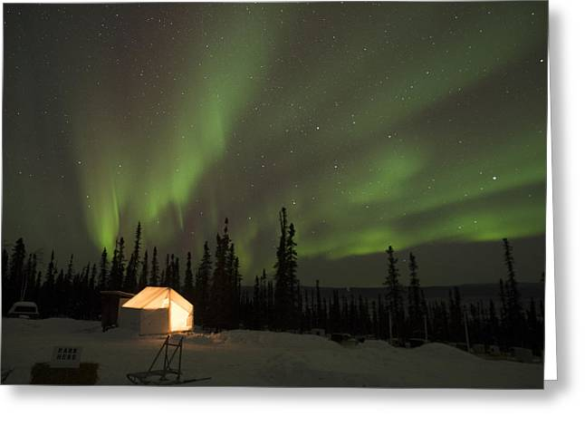 Wall Tents And Aurora Greeting Card